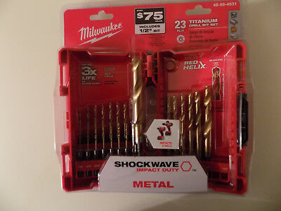 Milwaukee 48-89-4631 23-Piece Titanium Shockwave Impact Duty Drill Bit Kit