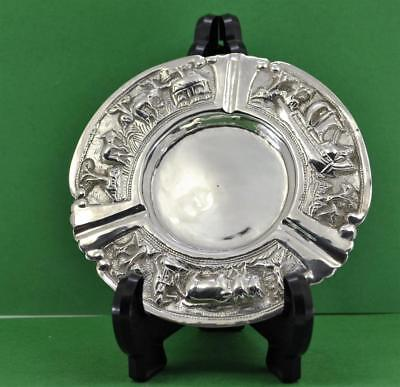 "Chinese / Asian export Silver Ashtray  5 "" wide Fine Repousse decoration 53 gr"
