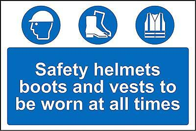 Construction signs Safety helmets, boots and vests safety sign