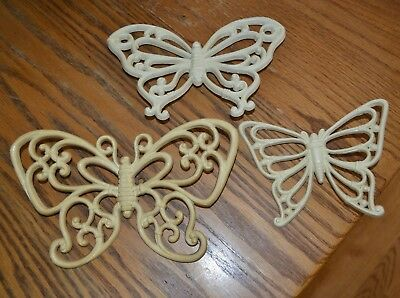 Lot of 3 Vintage Syroco Homco Butterfly Wall Hangings