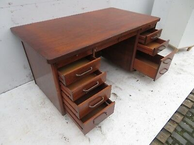 Abbess M806 1950's Vintage Oak Pedestal Desk - Good Condition