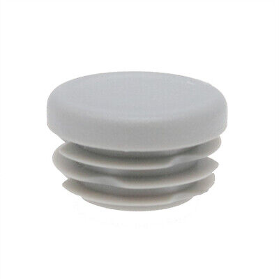 25 Pack Grey Round Tube Insert 25mm 1-3mm Wall, Plastic Chair Feet, Tube End Cap