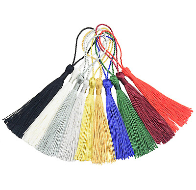"Mixed Color 100pcs 13cm/5"" Silky Floss Bookmark Tassels withCord Loop Jewelry"