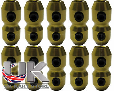 Aluminium Anodised Cable Clamp x 10 for Brake & Throttle in Gold Go Kart