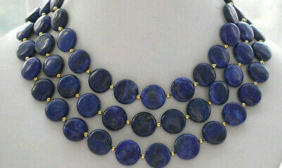 10mm Natural Blue Egyptian Lapis Lazuli Gemstone Necklace 36''