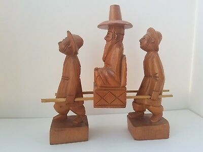 Vintage Oriental Asian Carved Wooden Figures with Two Young Men carrying Elder