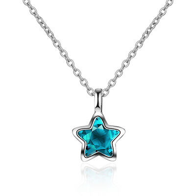 925 Sterling Silver Blue Crystal Star Pendant Necklace For Women Girl Jewellery