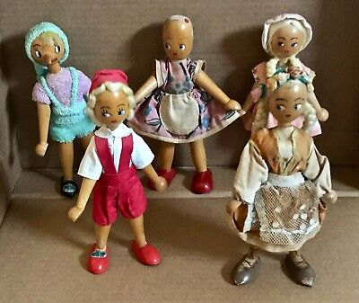 """Lot of 5 Vintage Wooden Dolls Polish Poland Dolls HAND PAINTED 7"""" Tall """"AS IS"""""""