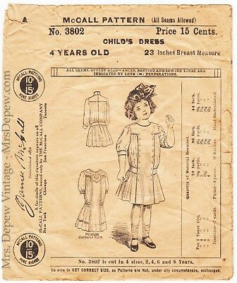Antique Vintage Sewing Pattern McCall 3802 Circa 1911 Girls' Dress Size 4 1910s
