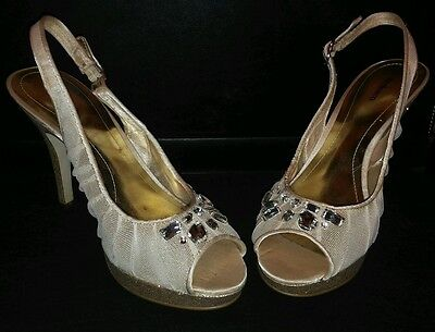 Style & co. 7.5 Champagne Gold Beige Heels with Silver Tear Drops Wedding