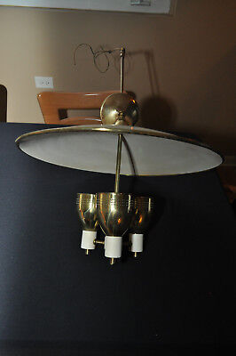 6 Vintage Mid Century Modern Hanging Chandelier Saucer Light Globe Lighting