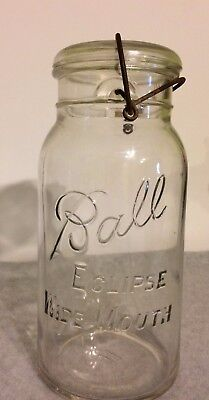 Vintage Half Gallon Ball Eclipse Wide Mouth jar with bail and wire