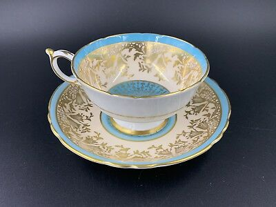 Paragon 533 Turquoise Rich Gold Lace Tea Cup And Saucer Set Bone China England