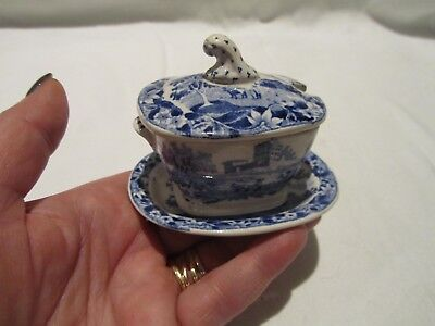 Rare Early Miniature 19th cent Antique Blue & White Tureen & Stand Hackwood 1840