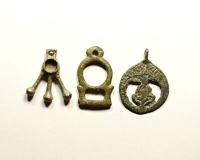 Great Lot Of 3 Ancient Roman To Viking Era Bronze Pendants - Nice Artifacts