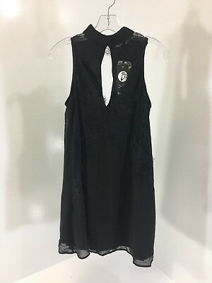 74ca99e53ba4 Boohoo Womens Boutique Flo High Neck Lace Front Swing Dress Black US6 UK 10  NWT