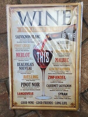 Wine Around The World Vintage Retro Style Metal Wall Sign Plaque New In Wrapper