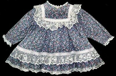 18 months girls Vintage 80's BRYAN dress Purple floral with Ruffles and Lace