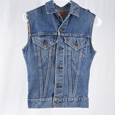 VTG Small/Extra Small Levis Big E Truckers Vest Jean Type III Jacket Distressed
