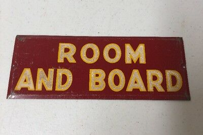"""Vintage """"Room And Board"""" Metal Apartment Hotel Motel Dorm Sign 9 1/2 X 3 1/2"""""""