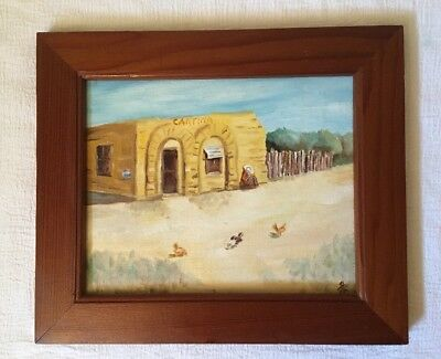 Vintage Cantina Oil Painting on Canvas Board Signed Framed
