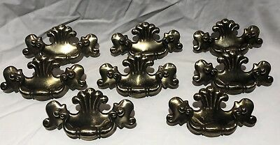Vintage CHIPPENDALE Style Drawer FURNITURE Pulls Set 9 BRASS FINISH