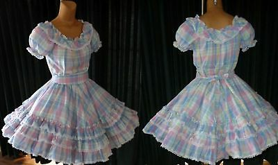 "1pc Pastel Plaid Square Dance Dress Triple Ruffle S/M  Bust 40""  W-28-36"" L-22"""