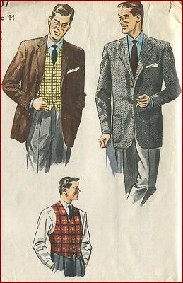 1950s Vintage Mens Suit Jacket and Vest Sewing Pattern Uncut Chest 44
