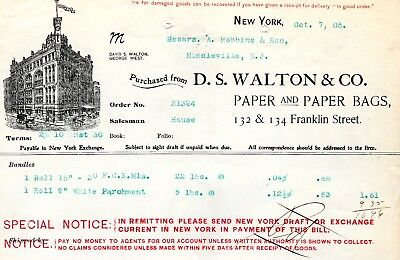 Oct.7,1905 D.S. Walton & Co. Paper and Paper Bags paper invoice