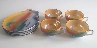 Vtg Seiei & Co Lusterware 1930's Hand Crafted Japan Tea cups Snack Trays Set 8pc