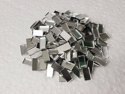 100 pieces, Silver Glass Mirror Tiles, 0.5 x 1 cm, 2 mm thick. Art&Craft,