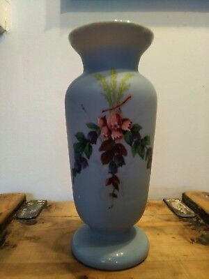 Antique Victorian baby blue flower hand painted blown Glass vase
