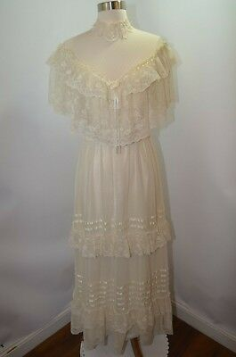 VTG 50s 60s Ivory Lace Floral Hippy BOHO Classic Wedding Evening Dress Womens