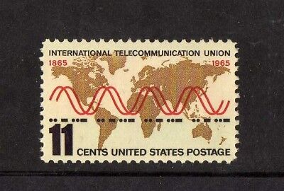 USA 1965 UIT Galt Projection World Map and Radio Sine Wave