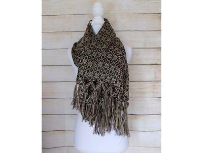 Handmade Womens Mexican Rebozo Scarf Black & Beige Wrap Shawl Gift for Her