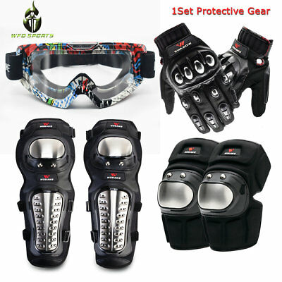Protective Gear Motorcycle Knee Elbow Pads Bike Motocross Goggles Gloves Guards