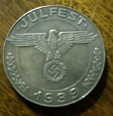 WW2 WWII German Elite coin SS Kampft Insterburg 1 Schilling Julfest money 1939