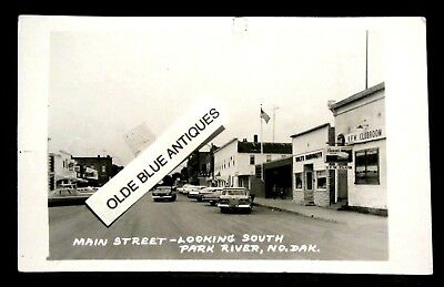 RPPC Main Street, VFW, Beer Signs, PARK RIVER,ND N.D. Real Photo pc SOUTH DAKOTA