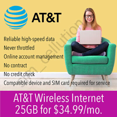 Unlimited AT&T SIM Card Data Plan $34.99 /month | No Throttling | No Contract