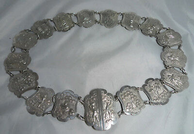 Antique Indian Silver Belt & Buckle 227g 31.5inches x 1.7inches A688417