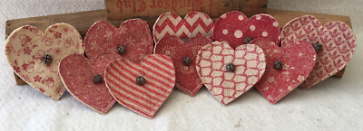 Primitive Ornies Mini FLAT Hearts LOVE Prim Ornies Bowl Fillers Make Dos