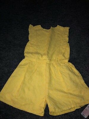 Girls Broderie Anglaise Yellow Playsuit 2-3 Years Bnwt