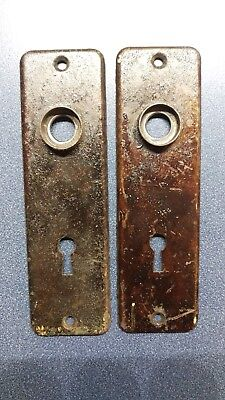 2  Antique Matching Pressed Steel Door Knob Backplates