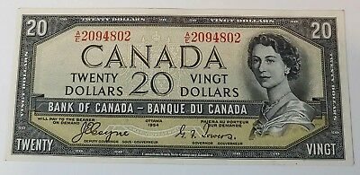 1954 Canada $20 Devils Face Banknote Beautiful Twenty Dollar Bill #coinsofcanada
