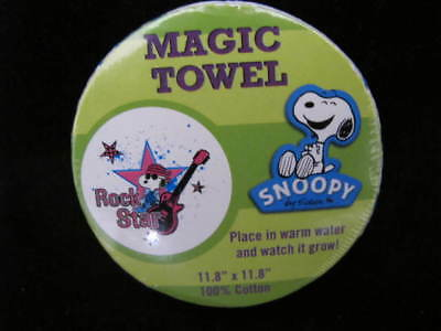 "Peanuts Snoopy Rock Star Magic Towel 11"" X 11"" Place In Water Warm And It Grows!"