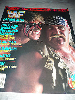 WWE WWF MAGAZINE official 9/91 Warrior VERY RARE Bret Hulk Macho used