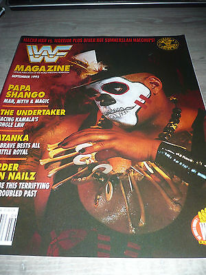 WWE WWF MAGAZINE official 9/92 Papa Shango VERY RARE Undertaker Tatanka used