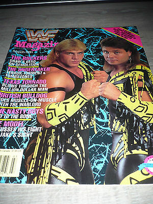 WWE WWF MAGAZINE official 3/91 Rockers Texas Tornado Taker VERY RARE Model used