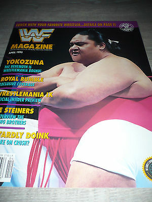 WWE WWF MAGAZINE official 4/93 Yokozuna VERY RARE Steiners used