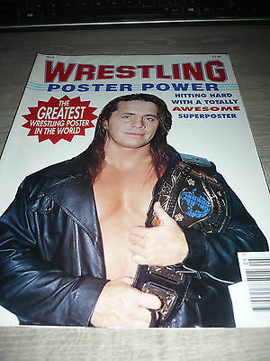 WRESTLING POSTER POWER 5 WWE WWF Bret VERY RARE OOP Mountie used
